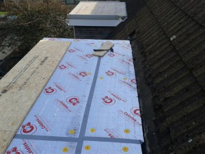 We also used kickboard at the back of the roof to ensure any water would not flow back into the property. All water will flow back towards the tlles, then off the sides of the flat roof onyo a lead flashing and dissipate onto the roof.
