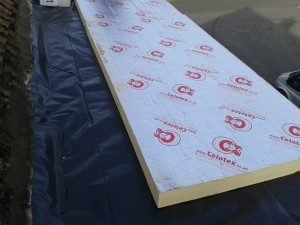Once the vapour barrier is installed we can start to lay the insulation sheets