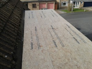 The GRP's roof covering decking has now been installed, the trims have been attached and it's now waiting for the GRP covering.