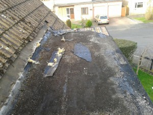 The old felt roof didn't leak, but at 15 years old was past it's best and due renewal.
